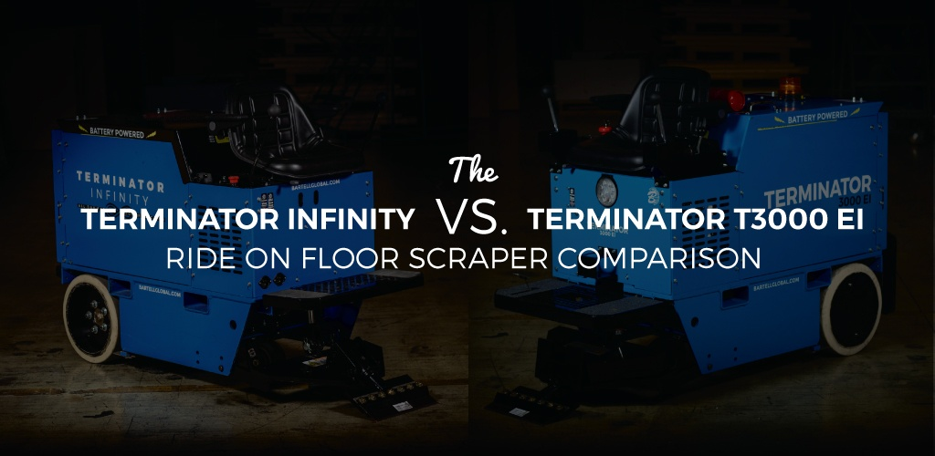 Terminator RideOn Floor Scraper Comparison TEI Vs Infinity - Mechanical floor scraper